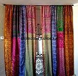 2 cortinas de seda vintage india Sari multicolor hechas a mano patchwork cortinas cortinas decoración del hogar
