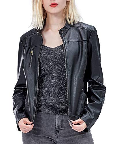 Fahsyee Women's Faux Leather Jackets, Zip Up Motorcycle Short PU Moto Biker Outwear Fitted Slim Coat Black Size L