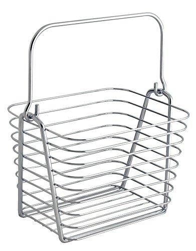 InterDesign Classico panier rangement, petit panier en métal avec poignées, corbeille rangement pour accessoires de salle de bains ou jouets, argenté