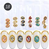 18PCS 3d metal glitter nail art decorations shell rhinestones charms nails jewelry accessoires gem (Style 01)