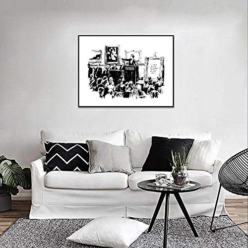 Wandkunst Leinwand Malerei,Banksy Graffiti Auktionen Poster Und Drucke Wohnzimmer Wand Kunst Dekoration Schwarze Und Weiße Leinwand Gemälde Home Dekor Bild Ohne Rahmen Zeichnung Kern,70 X 100 Cm O
