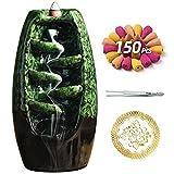 Bruciatore di incenso in ceramica con 150 coni, porta incenso con riflusso a cascata, ornamento per aromaterapia, arredamento Zen, decorazioni per la casa, decorazioni per la camera (verde)
