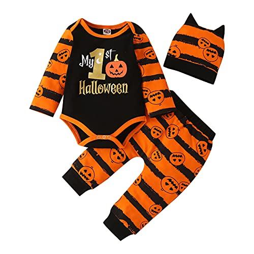 APAELEA Pagliaccetto Neonato Maschio Halloween Lettera Stampa Manica Lunga Tutine Costume Abiti 3 pz,Arancione,0-3 Mesi