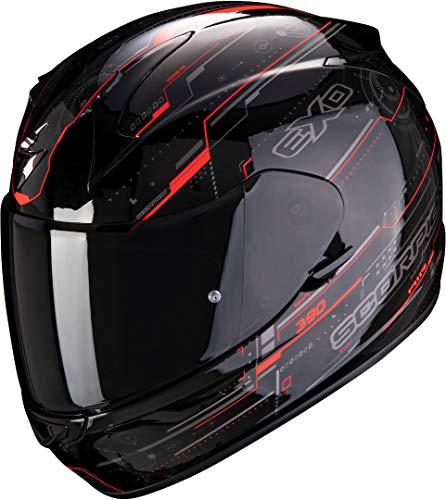 Scorpion Motorradhelm EXO-390 BEAT Black-Neon Red, Schwarz/Rot, L