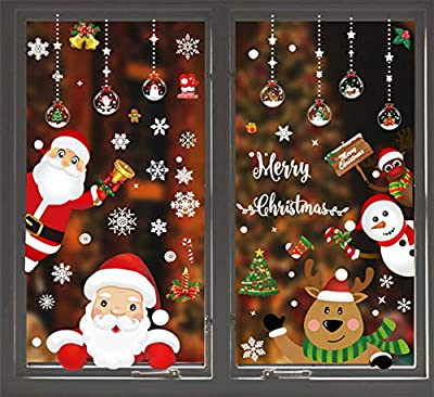 MEISEN 161 PCS 8 Sheets Christmas Snowflake Window Cling Stickers for Glass, Xmas Decals Decorations Holiday Snowflake Santa Claus Reindeer Decals for Party