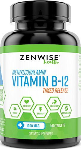 Vitamin B12 - 1000 MCG Supplement - Natural Energy Booster - Benefits Heart, Digestive and Brain Function - 160 Count Timed Release Tablets