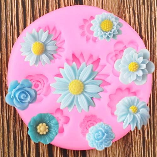GEYKY Gänseblümchen Rose Mohn Blume Silikonform Topper Polymer Clay Harz Form Kuchen Dekorationswerkzeuge Praline Formen