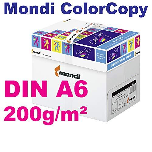 Mondi ColorCopy DIN A6 Papier 200g/m² VE = 125 Blatt Papier weiß für Laserdrucker und InkJet geeignet