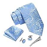 Massi Morino ® Set Cravate Homme (avec Mouchoir + Boutons de Manchette +...