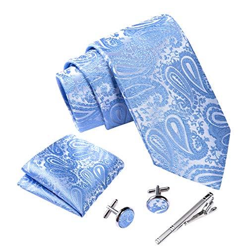 Massi Morino ® Set de corbata (caja regalo para hombres) Corbatas de hombre y pañuelos + gemelos + clip de corbata (Paisley azul claro)