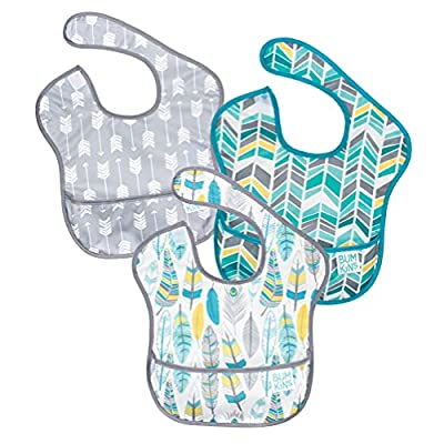 Bumkins SuperBib, Baby Bib, Waterproof, Washable Fabric, Fits Babies and Toddlers 6-24 Months - Feathers, Quill, Arrows (3-Pack) by Bumkins