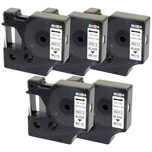 5X Schriftband-Kassetten D1 45013 S0720530 schwarz auf weiß 12mm x 7m kompatibel für DYMO LabelManager LM 160 210D 220P 260P 280 360D 420P 450D 500TS PnP MobileLabeler LabelPoint LabelWriter 450 Duo