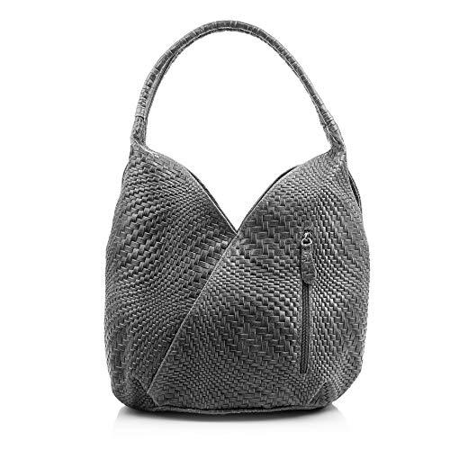 Firenze Artegiani Bolso Shopping Bag de Mujer en Piel auténtica, Grabado con Motivo Trenzado geométrico y Lacado, 33 cm, Gris
