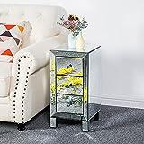 JYXJJKK [Envío rápido en el Reino Unido Silver Mirror Cabinet Office Home Bedroom Mesita de noche moderna gabinete de almacenamiento de cuatro patas tipo fregadero de tres dibujos