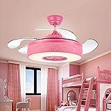 52 pulgadas sala de estar niños dormitorio decoración Led ventiladores de techo con luces de control remoto restaurante invisible comedor de techo ventilador de luz Pink