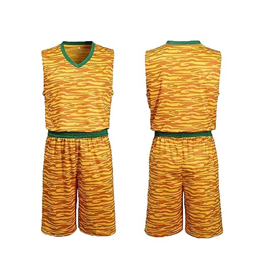 Trikots Herren Shirt Kinder Basketball Uniform Anzug Männer und Frauen Schüler maßgefertigter atmungsaktiver Zweiteiliger Anzug Gr. XS, gelb