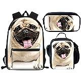 Mochilas escolares para niños y niñas, bolsa de escuela primaria para estudiantes de niños bolsas de almuerzo bolsa de lápiz bolsa bolsa de lápiz caja divertido perro