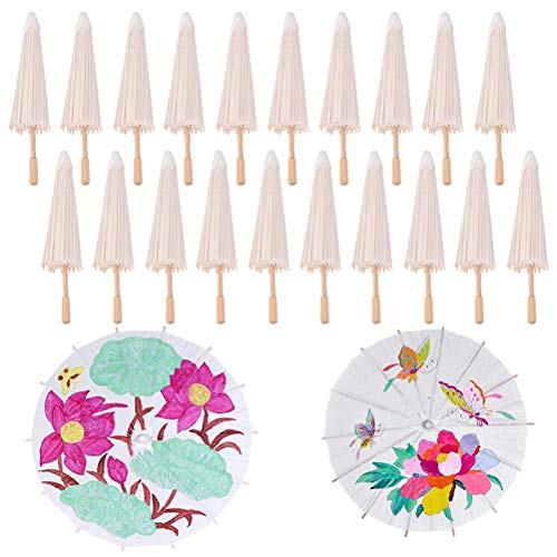 BraveWind Paraguas de Papel en Blanco japonés Chino Paraguas sombrilla para niños DIY Paraguas proyectos, Papel, 40cm, Paquete de 30
