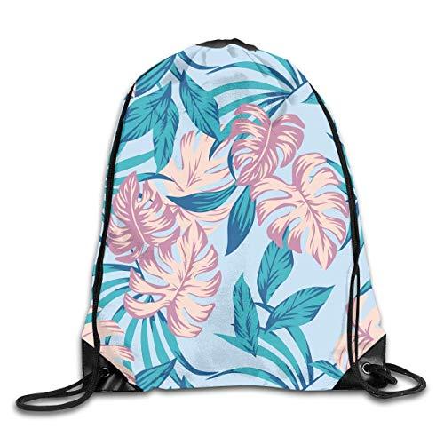 Drempad Tunnelzug Rucksäcke, Blue Tropical Plant Leaves Summer Patterned Themed Printed Drawstring Bundle Book School Shopping Travel Back Bags Draw String Gym Backpack Bulk Girl Boy Women Men