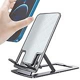 TiMOVO Soporte de Teléfono Plegable, Soporte Tableta Portátil Multiángulo de Aleación de Aluminio, Base Universal Antideslizante para Mesa Escritorio Compatible con Móviles de Menos de 12'', Gris