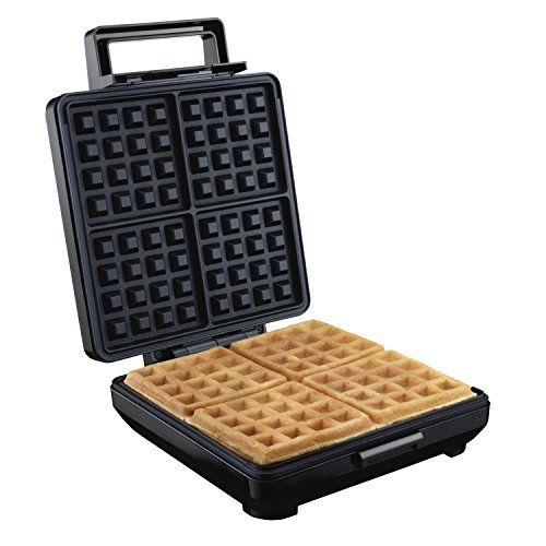 Proctor Silex 4-Slice Non-Stick Belgian Waffle Maker with Indicator Lights, Compact Design, Black (26051)