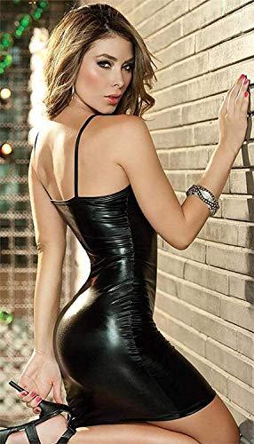 Jaanshi Women's Faux Leather Shiny Front Zip Open Pole Fantasy Dress (Black, S)
