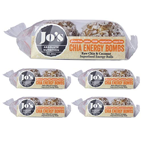 Superfood Energy Balls - Raw Chia, Date, Almond & Coconut Balls - Perfect for Paleo & Gluten Free Diets - Packed with Fibre, Protein & Slow Release Energy - 10x25g Balls by Jo's Absolute Nutrition