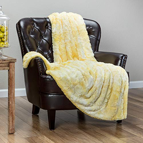 Chanasya Fuzzy Faux Fur Throw Blanket - Light Weight Blanket for Bed Couch and Living Room Suitable for Fall Winter and Spring (50x65 Inches) Yellow