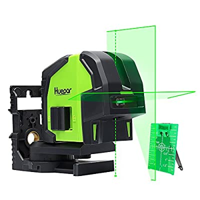 Cross Line Laser Level with 2 Plumb Dots- Huepar 8211G Professional Green Laser Beam Fan Angle of 130° Selectable Vertical & Horizontal Lines, Multi-Use Self-Leveling Alignment Laser Level by Levelsure