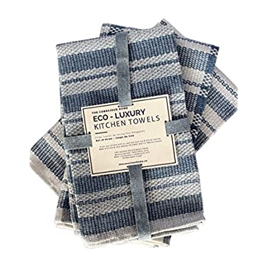 Eco Luxury Kitchen Towels Cotton Dish Cloths | Eco-Friendly Upcycled Denim and Cotton Tea Towels | Soft and Super Absorbent, Premium Quality | Natural and Blue,| Kitchen Towel Set of 3, 20 x 26 in.