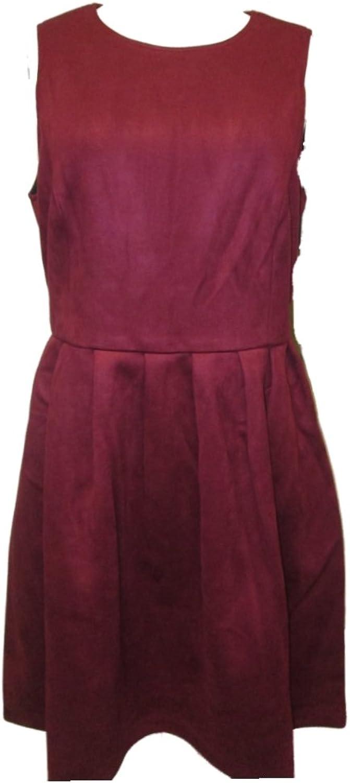 Hypr Women's Sleeveless Pleated Dress Suede Red Wine