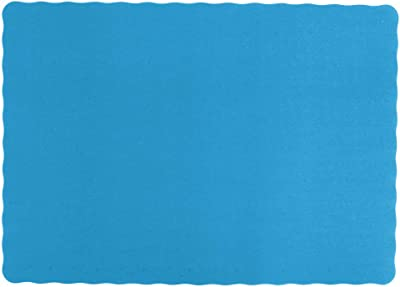 """Blue 50ct Color Bulk Paper Placemats for Parties and Christmas Table Decorations Scalloped Edges Table Mats 10/""""x14/"""" Inches"""