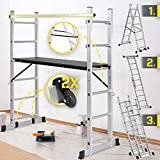 Jago® Scaffolding and Ladder - Multifunction 4 in 1, Movable, Height Adjustable (46-102 cm), Aluminum, Max. 150 kg, 2 Spacers and Handrail - Work Platform