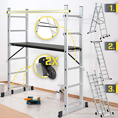 Jago® Baugerüst - Arbeitshöhe max. 300 cm, bis zu 150 kg Belastbar - Alu Multifunktionsleiter, Leitergerüst, Gerüst, Arbeitsgerüst, Baugerüst, Arbeitsbühne