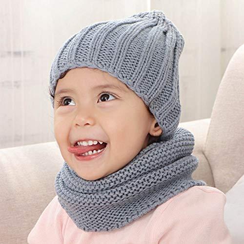 Sanheng - Set di sciarpa con cappello e sciarpa, per autunno e inverno, in lana massiccia, per ragazzi e ragazze