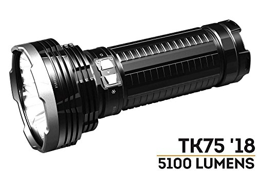 Fenix TK75 5100 Lumen 929 Yards Beam 2018 Edition CREE LED USB Rechargeable Flashlight with Four Rechargeable Batteries and 4 X EdisonBright CR123A Batteries Bundle