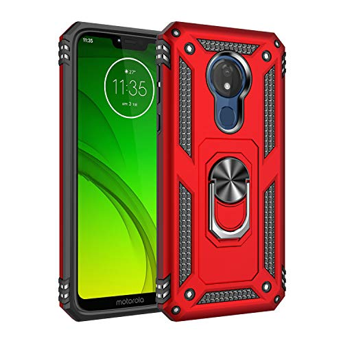 Beryerbi Funda Compatibles with Motorola Moto G7 Power,Ultra Slim Atracción magnética PC Bumper with 360° Anillo Carcasa para Motorola Moto G7 Power