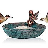 Angel Girl Fairy Garden Statue Bird Feeder Bath for Outdoor Home Crafts Resin Yard Decor Mermaid Cherub Garden Sculpture Memorial Figurine