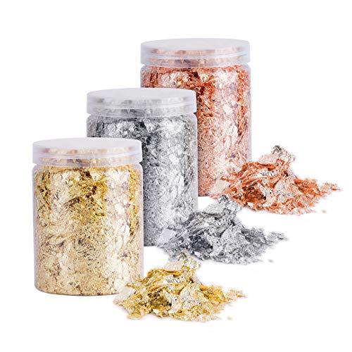 DEXIDUO 3 botellas de copos de oro, oro, plata, cobre copos de...
