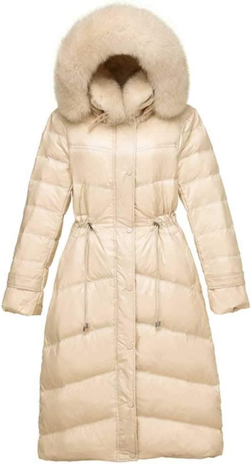 RSTJ-Sjc Women Fashion Hooded Long Sleeve Winter Warm Casual Down Faux Fur Collar Down Jacket Girls Long Paragraph Slim Waist Knee Warm, Ideal for Cold Weather,White,S