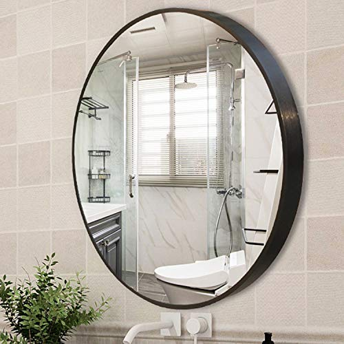 "YGBH Wall Mirror for Bathroom - 24"" Round Wall Mounted Decorative Mirror, Best for Vanity Washrooms Bathroom and Living Rooms- Black"