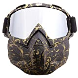 SPOSUNE Motorcycle Goggles Detachable Face Mask, ATV Dirt Bike Off Road Racing Motocross MX Riding Paintball Goggle Anti-Scratch Dustproof UV400 Eyewear with Soft Foam, Adjustable Strap for Men Women