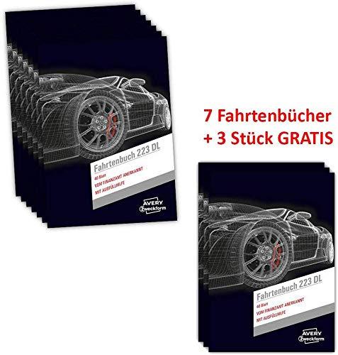 AVERY Zweckform 223DL Fahrtenbuch (für PKW, A5, 40 Blatt) 10 Stück