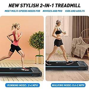 CITYSPORTS Treadmills for Home, Under Desk Treadmill Walking Pad Treadmill with Audio Speakers, Slim & Portable Treadmill with Remote & Dual LED Display, Office & Home Treadmills Dual Purpose