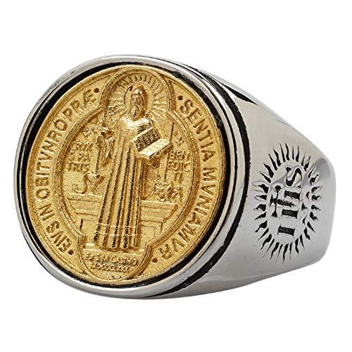 ForFox Anillo Cruzado Medalla de San Benito católico de Acero Inoxidable Titanio y Cobre para Hombres y Mujeres,Bicolor,Talla 19