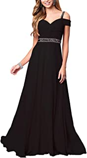 Women's Formal Chiffon Sleeveless A Line Halter Long Maxi Party Evening Dress Skirt