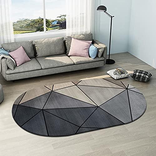 Alfombras ovaladas Diseño de geometría Gris Alfombra Grande para la Sala de Estar Dormitorio Mesa de Centro de café Manta Antideslizante Cesta de Colgante Lavable Mat 120cm 140cm 160cm 200 cm