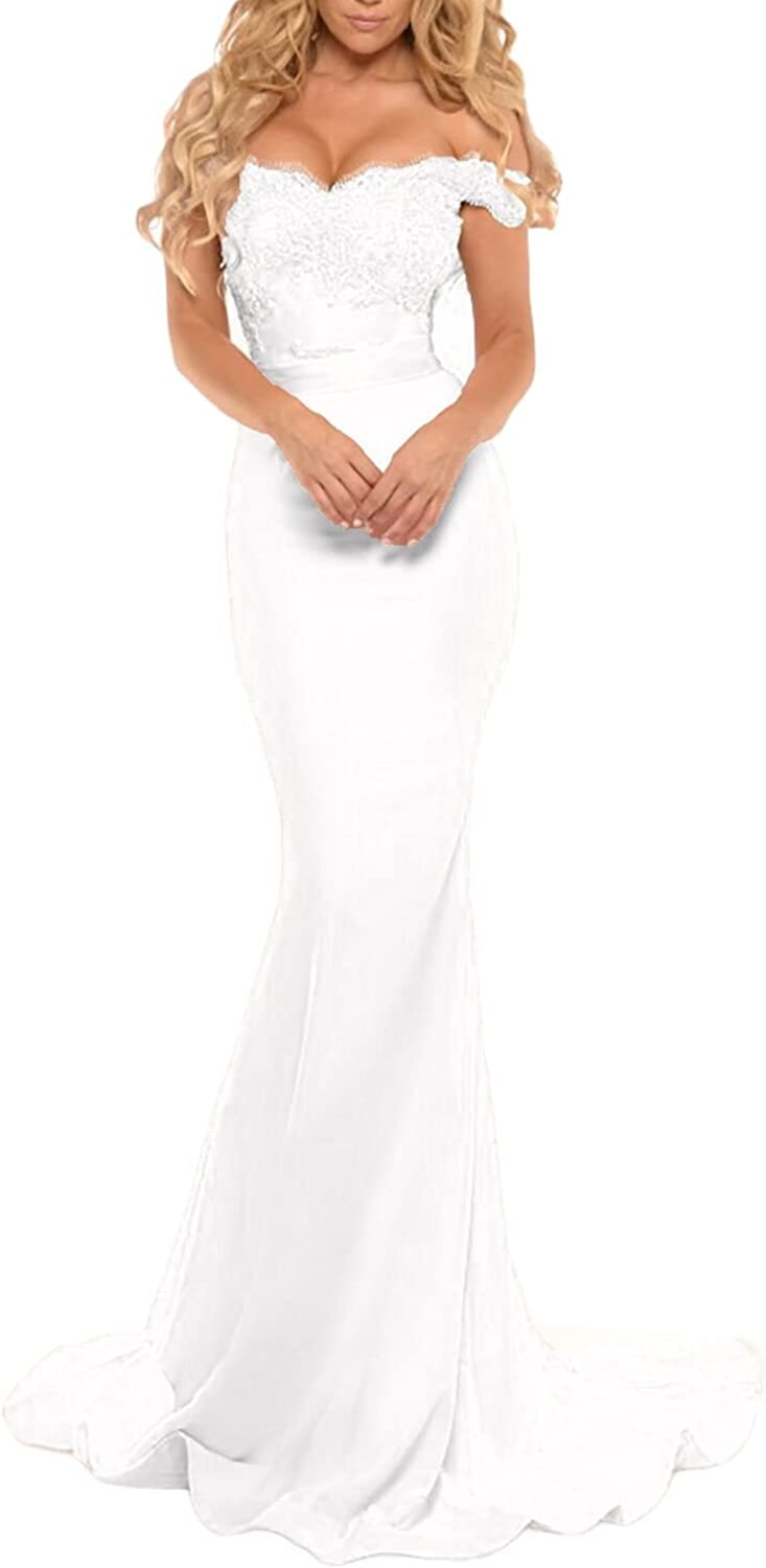 Miao Duo Women's Long Mermaid Off Shoulder Lace Formal Prom Gowns