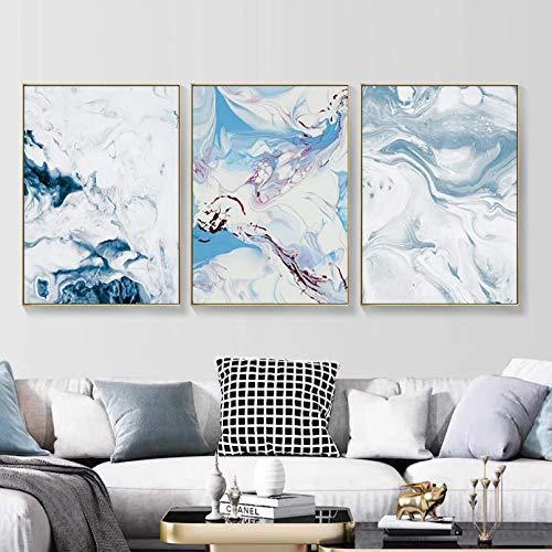 Póster de Arte Mural HD nórdico Abstracto Azul Blanco Textura de mármol Lienzo Pinturas Pared Arte Imagen Carteles e Impresiones para Sala de Estar Oficina decoración del hogar
