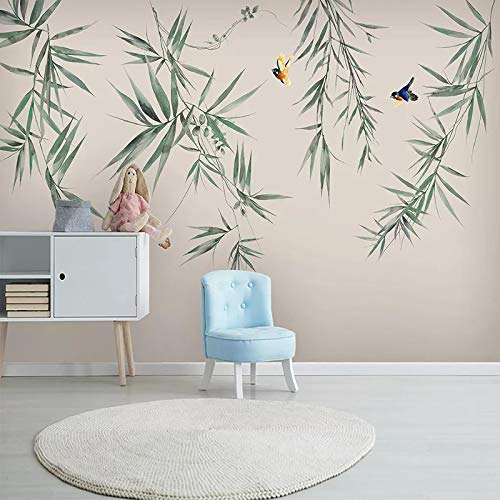 ZPDM 3D Non-woven or Vinyl 15 Size Wall Sticker Peel and Stick Mural - Simplicity plants leaves birds - Self-Adhesive Mural Photo Mural Children Kids Room Decoration Background Wall Paper Boy Girl Bed